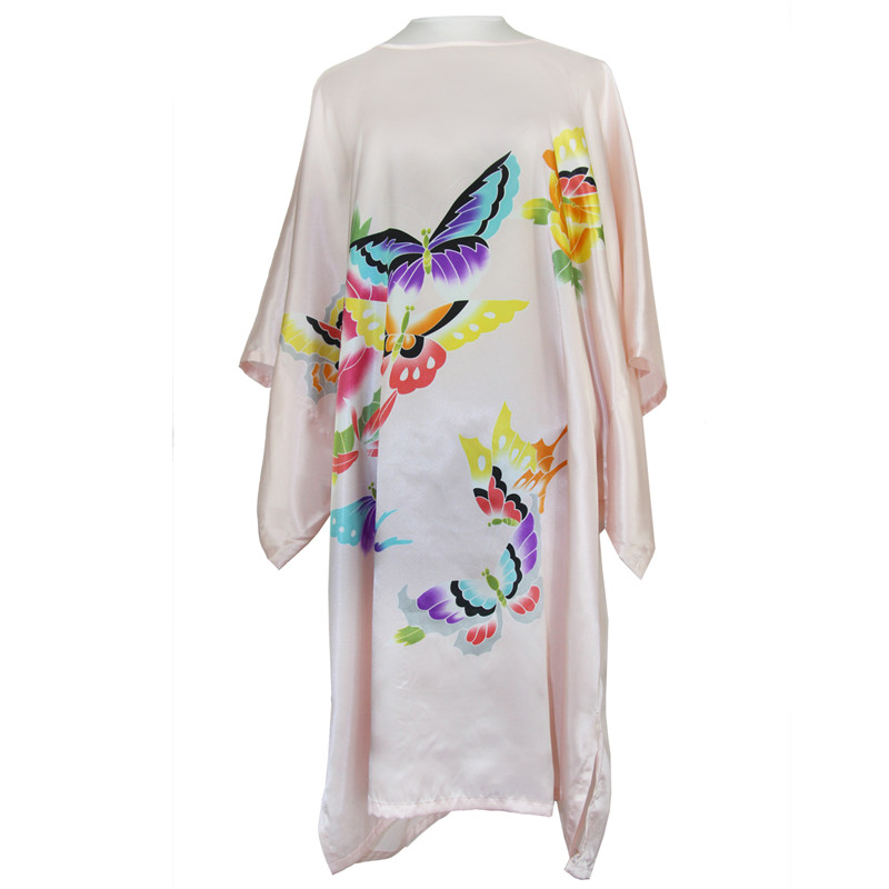 Pink Red Blue Plus Size Sexy Sleepwear Womens Print buttefly Satin Novelty Nightdress Robe Dress Loose Bath Gown SQ033