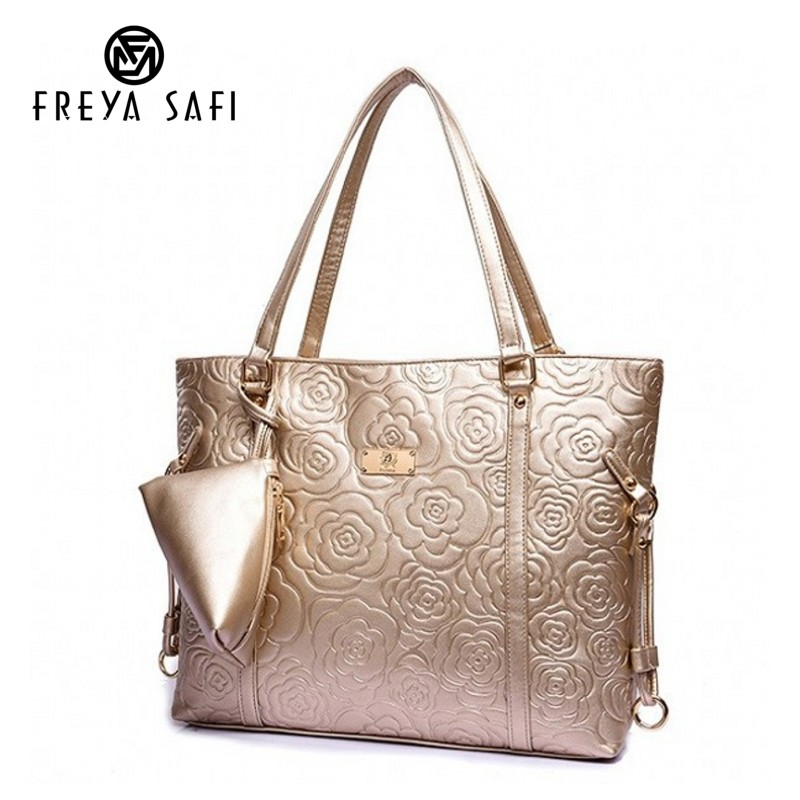 Freya Safi New Floral Women's PU Leather Handbag Gold Shoulder Bag Hot Sale Bags Women Handbag Messenger Bags With Small Wallet pu leather front zip floral shoulder bag