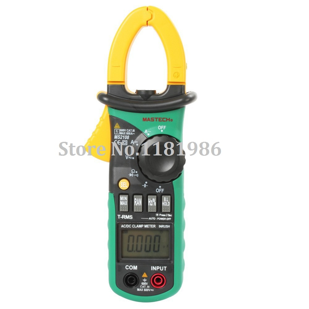 MASTECH MS2108 6600 Counts True RMS AC DC Digital Clamp Meter Multimeter Multimetro Capacitance Frequency Inrush Current Tester dia 200 20mm carbon graphite round plate graphite stir rod melting gold silver stirring rod graphite for mixing silver