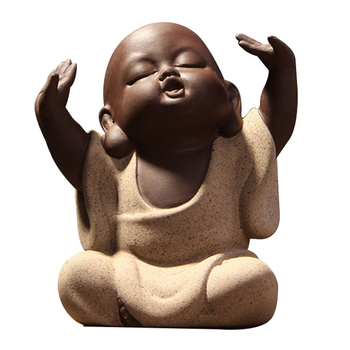 Chinese Kung Fu Tea Set Yixing Tea Pet Desktop Decoration Lovely Buddha Little Monk Sand Tea Pet Purple Tea Accessory S tangpin purple clay tea pets monkey cute zisha teapets kung fu tea accessories