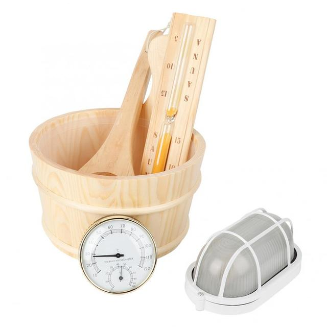 5Pcs/Set Sauna Tool Bucket + Scoop + Sand Clock + Thermometer + Explosion Proof Light Accessories