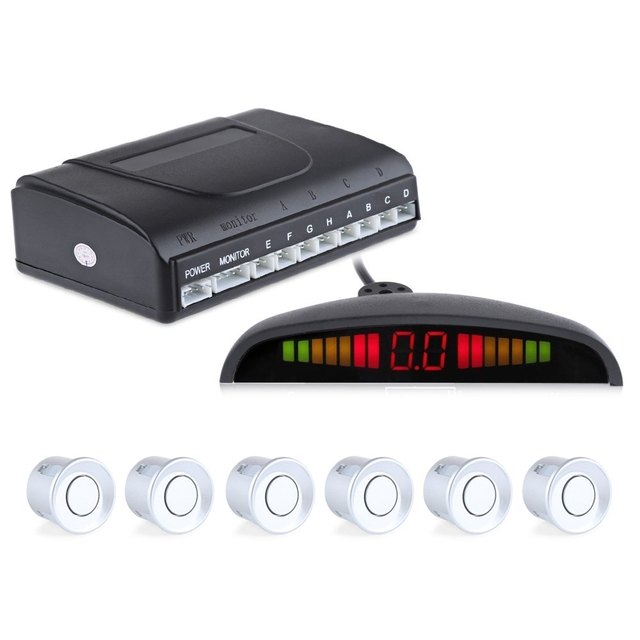 Rain Proof Car Parking Sensor Auto Radar System Reverse Backup LED Display Buzzing Sound Warning 6 Parking Sensors Anti-freeze