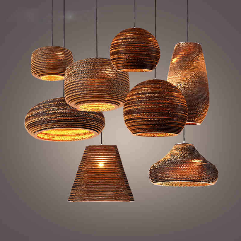 Vintage rural paper honeycomb pendant lamp bar pendant for Lampe suspendu noir
