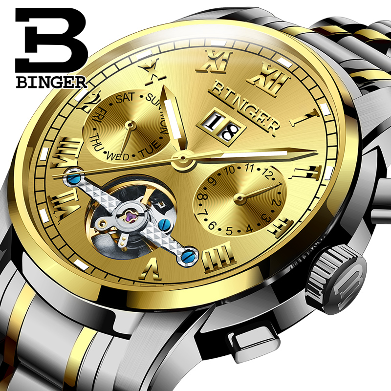 Genuine Switzerland BINGER Brand Men automatic mechanical self-wind movement sapphire watch waterproof hollow Tourbillon table
