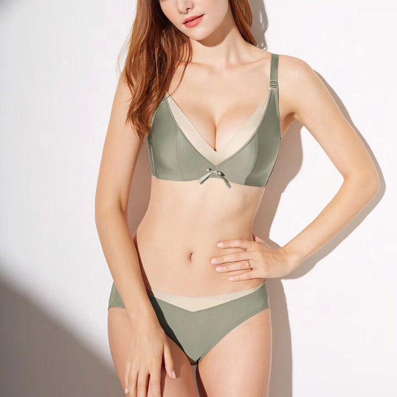 2018 New Wireless Small Chest Lace Bra Set Cotton Lacy Underwear Women Lingerie Set Soft Comfortable Brassieres