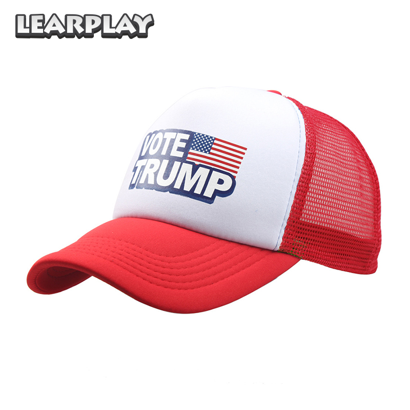 New Donald Trump Mesh Baseball Caps Vote Trump Logo American Flag Adjustable Hats Snapback Sport Trucker Hat For Men Women