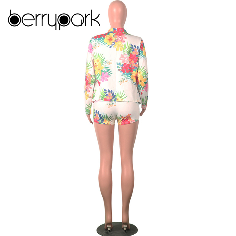 BerryPark Floral Print OL Blazer Short Women Suit Casual Outwear Long Sleeve Jacket Shorts 2 Two Piece Set Office Lady Clothes 4