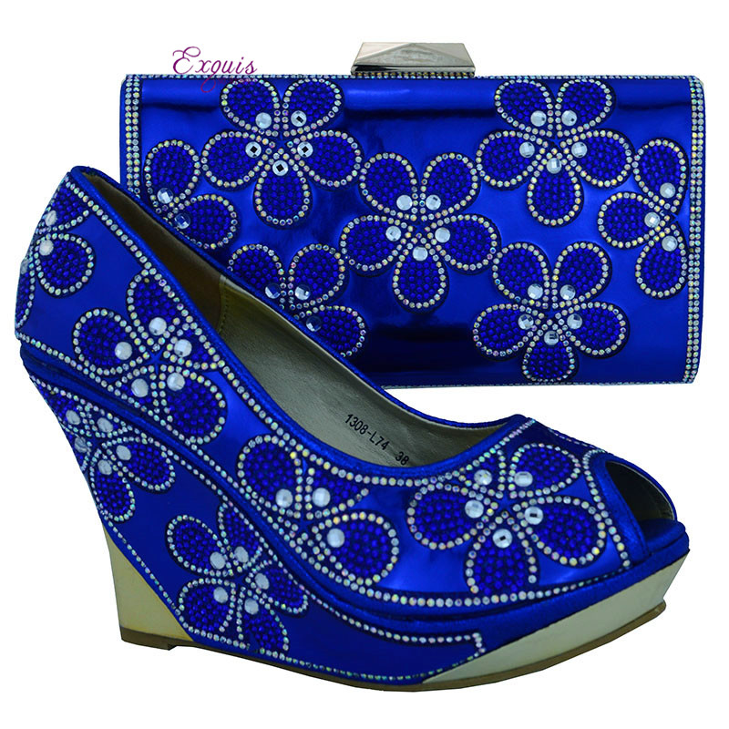 ФОТО 2016 The latest italy design shoes and the bag! African Matching shoes and bags for women with rhinestone in royal blue 1308-L74