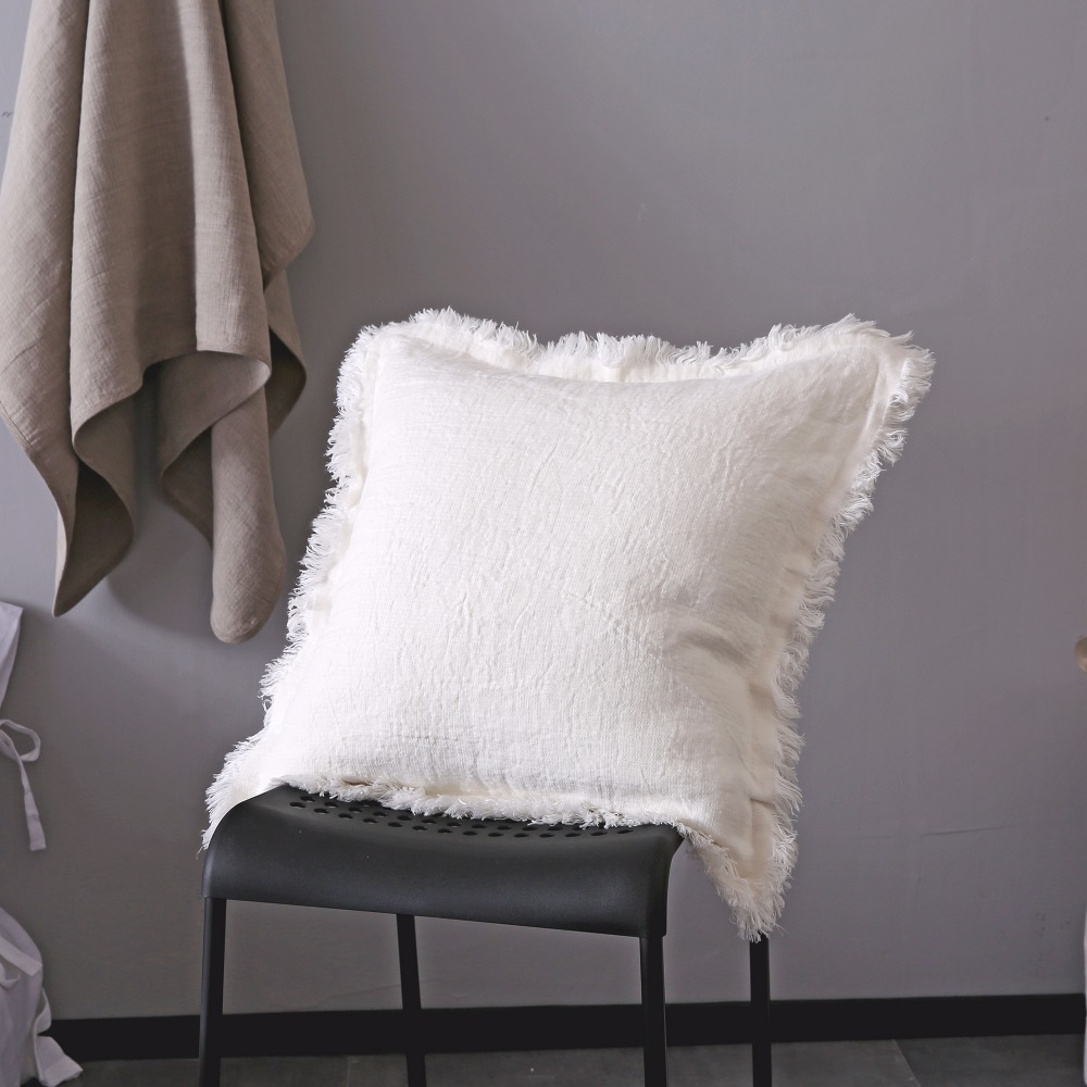 ESASILK Fringed edge Linen Square Pillowcase 100%French Linen Cushion - Home Textile - Photo 1