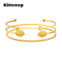 Kittenup New Trendy Boho 3 Piece Gold Color Leaf Feather Twisted Rope Charm Bangles Jewelry Gifts For Women Classic Bracelets