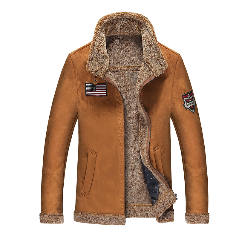 Sheerling Mens Faux Fur Coats Luxury Motocycle Leather Jacket Men Zipper Fur Collar Winter Coat Khaki Blue Biker Suede Jackets