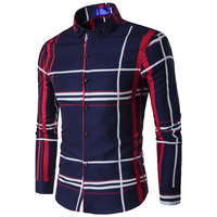 Classical 2016 New Fashion Brand England Striped Plaid Mens Shirt Business Style Shirts For Men Cotton