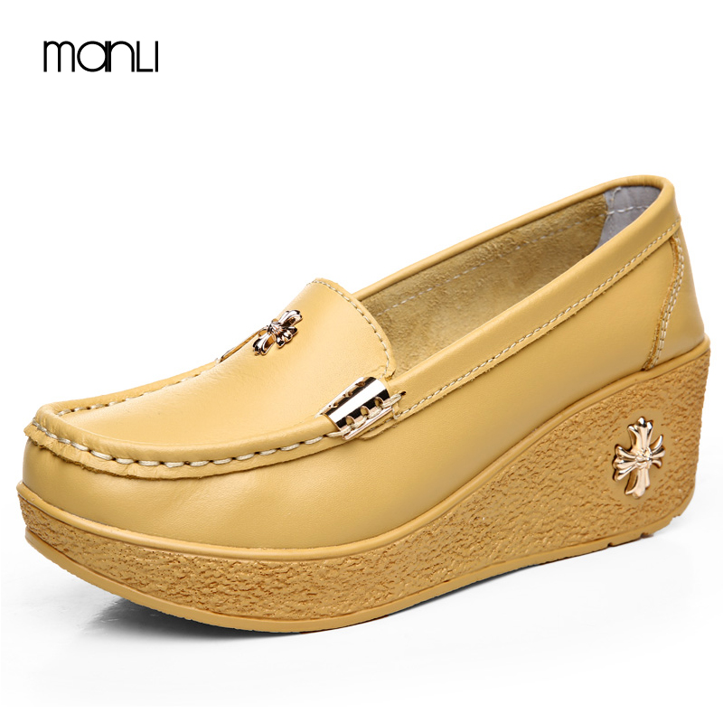 MANLI Sandals platform 2017 summer women genuine leather shoes woman Hand-sewn suede leather flats cowhide flexible boat shoes qmn women crystal embellished natural suede brogue shoes women square toe platform oxfords shoes woman genuine leather flats