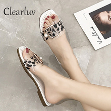 2019 summer slippers ladies buckle pearl transparent open toe outdoor flat beach sandals