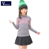 Autumn winter 2017 children sweater 4-13 year old Round neck Jacquard Cartoon teddy bear all-match girls sweater girls knitwear