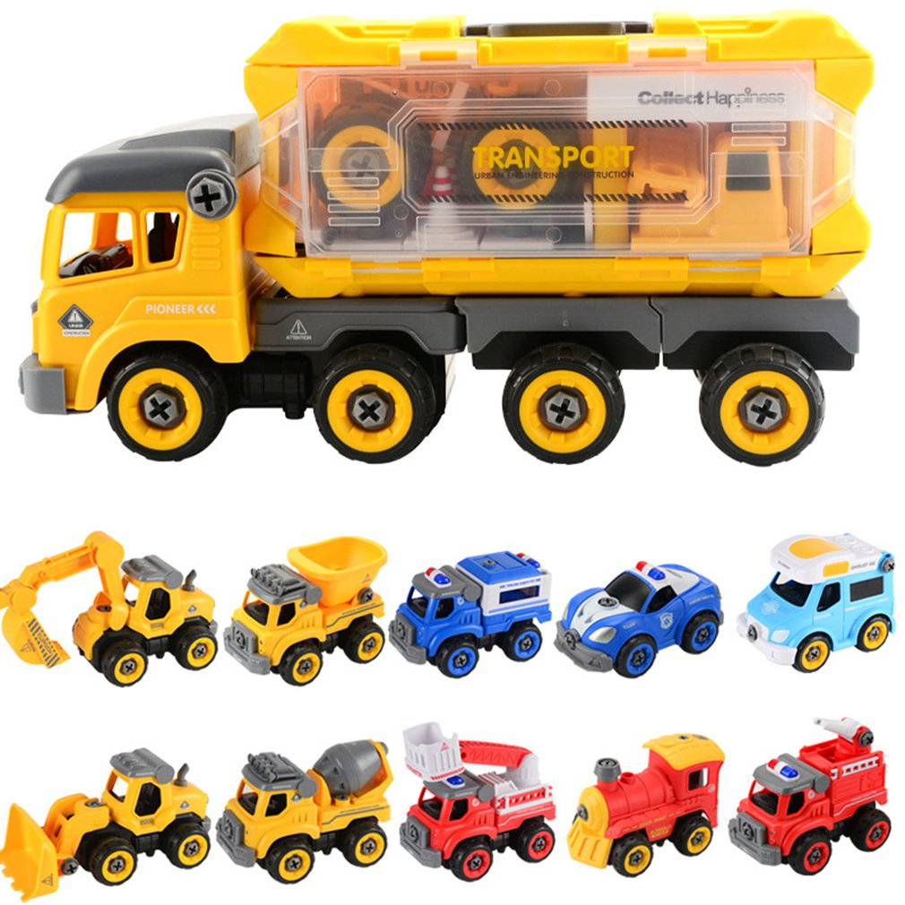 11 types Children'S Disassembly Engineering Car Truck Toy 2.4G RC Car bulldozer excavator Fire truck train DIY Assembly Vehicles