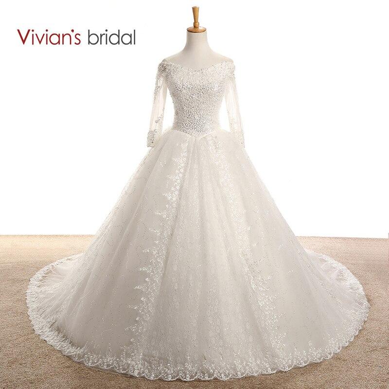 Vivian's Bridal Beaded Sequin Long Sleeve Wedding Dress