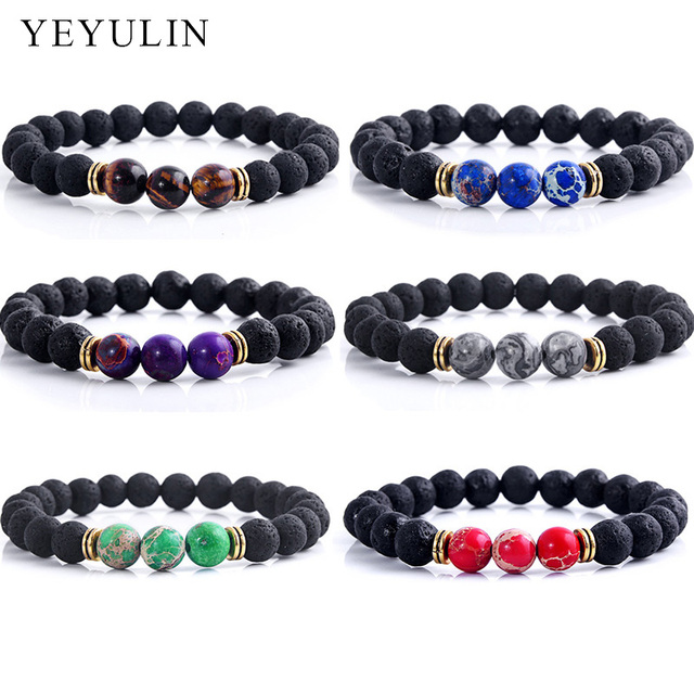 casual women products beaded volcano dog stone accessories bracelets jewelry beads lava stones shaojia bracelet volcanic bling strand natural pup v
