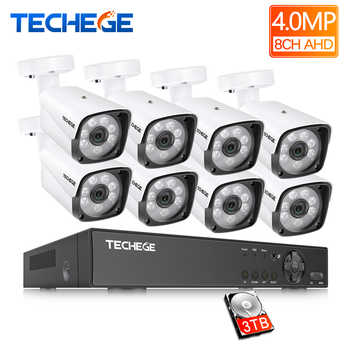 Techege 4MP CCTV System 8CH DVR 1080P 2K Video Output 4MP Metal Waterproof Outdoor AHD CCTV Camera System XMeye Remote View - DISCOUNT ITEM  45% OFF All Category