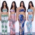 19 Colors Tie Dye Flare Pants Women Tracksuits American Hot Sale Wide Leg Pants + Sexy Bra Crop Tops Women Pants 2 Piece Set 2XL