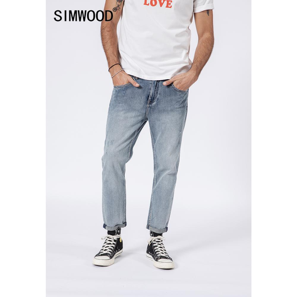 SIMWOOD 2019 Ankle-length Jeans Men Fashion Ripped Slim Fit Scratched Denim Pants Streetwear High Quality Plus Size 180326