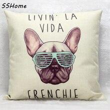 Cojín de algodón de lino frenchie wihtout interior francés bulldog animal almohada patrón de diseño decorativo cojines sofá cojin