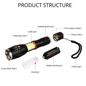 Image 2 - LED 8000 Lumens T6 poche lampe de poche tactique COB lanterne magnétique 6 Modes résistant à leau pour télescopique focalisant la lumière de travail