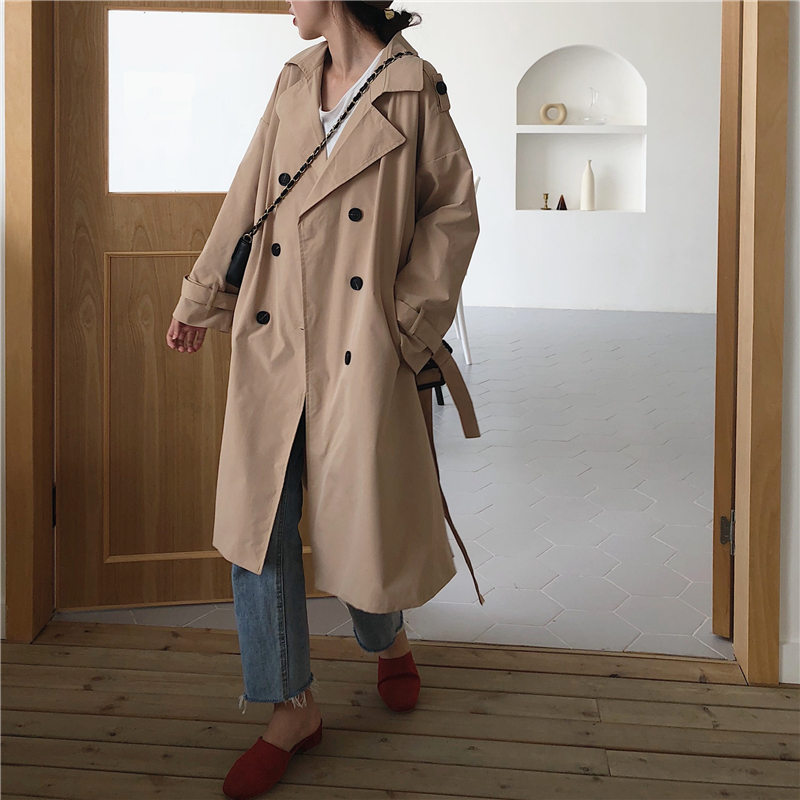 2019 Trendy coral long   trench   coat new arrival spring autumn Korean style double breasted long khaki windbreaker