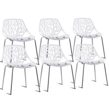Set of 6 Accent Armless Plastic Dining Room Side Chairs High Quality Modern White Chair HW59405-6(China)