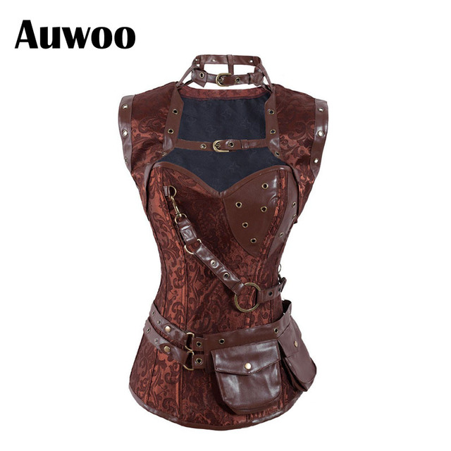 New Free shipping Women's Retro Goth Brocade Full Steel Bones Steampunk Overbust Corset with Jacket and Belt Brown Halloween Top