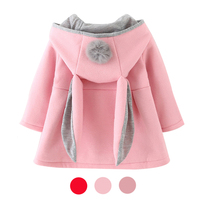 Autumn Winter   Baby   Outwear Infants Girls Cute Rabbit Hooded Princess Jacket Coats with Ball Christmas Gifts New Year Clothe