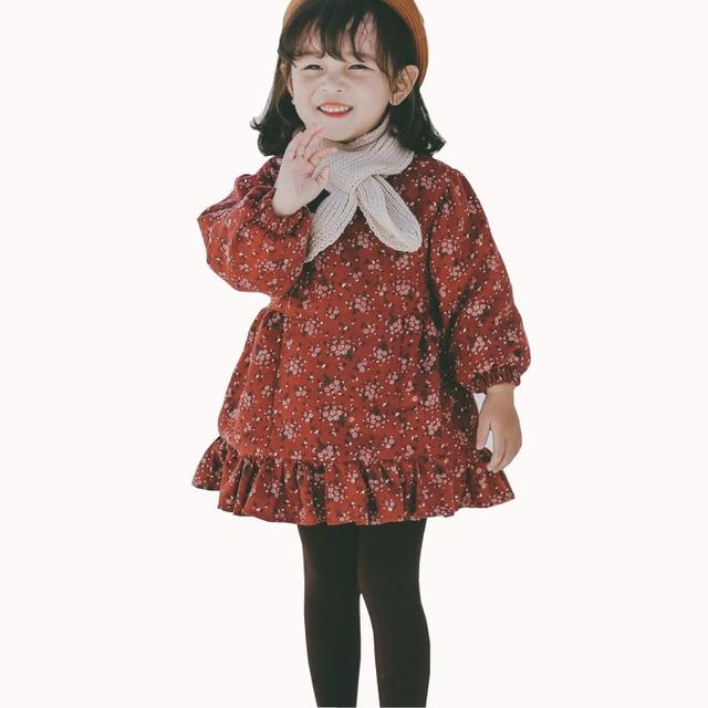 9e5f89e66 Toddler Girl Winter Dresses Baby Girls Floral Cotton Warm Princess Party  Frocks Kids Thick Fleece Cute Mini Dress 1 2 3 4 5 6 Yr