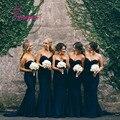 Vestidos De Madrina Sweetheart Azul Marino Largos Vestidos de Dama de Gasa Baratos Vestidos de Dama de 2016