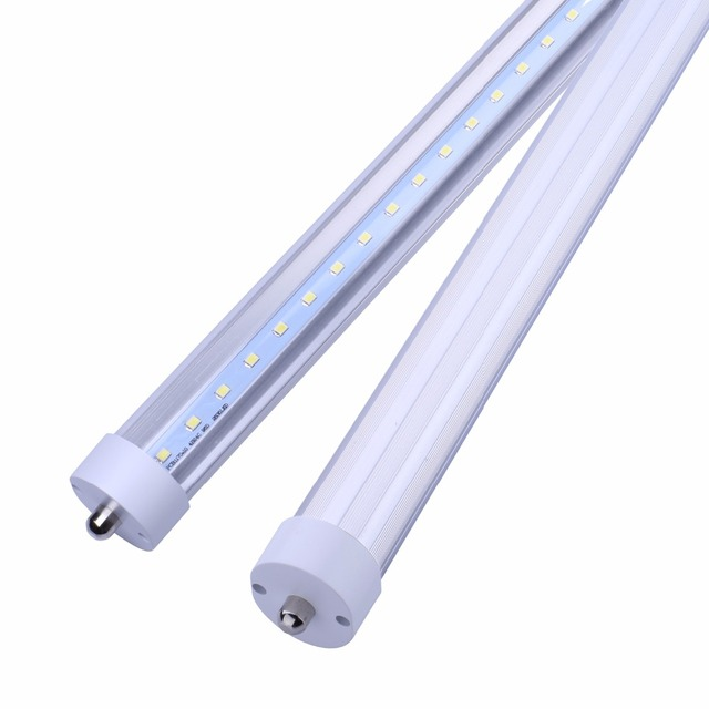 T8 8FT LED Tube Light Single Pin FA8 Base 6000K 4500Lumens Fluorescent Bulb Replacement Clear/Milky Cover Dual-Ended Power
