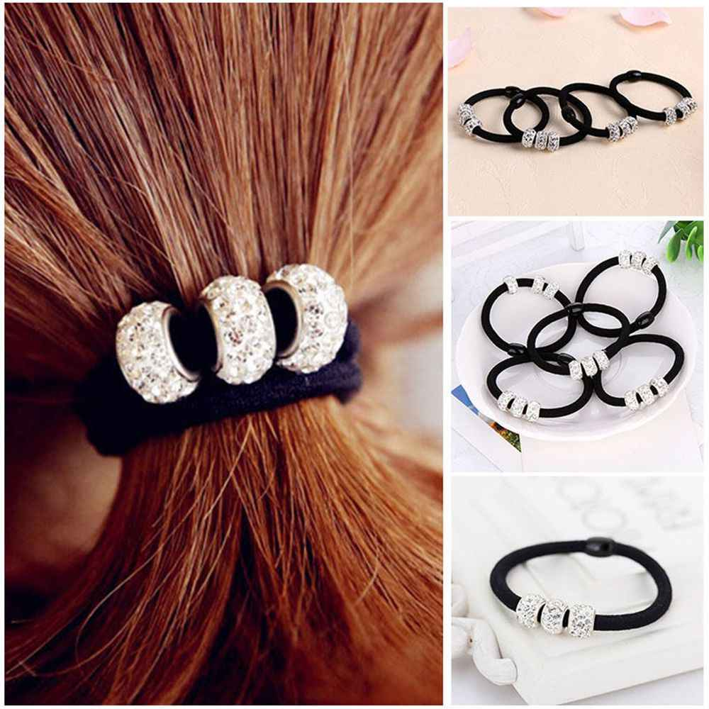 2Pcs Women Girls Crystal Rhinestone Balls Hair Band Rope Elastic Ponytail Holder