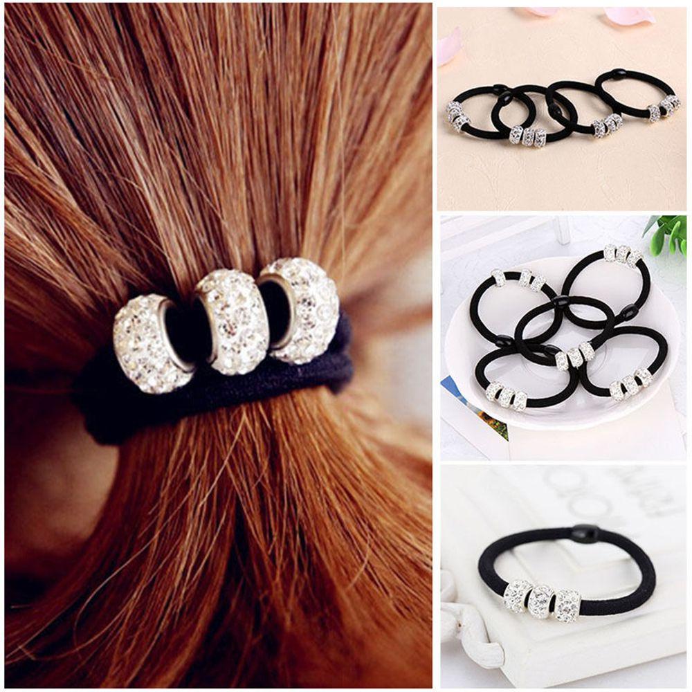 2Pcs Women Girls Crystal Rhinestone Balls Hair Band Rope Elastic Ponytail Holder