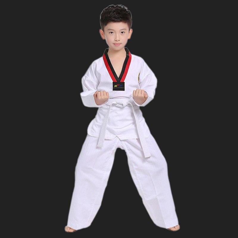 Taekwondo Dobok WTF à manches longues Tae kwon do uniforme vêtements de karaté professionnel Taekwondo formateurs blanc vêtements enfants à adulte