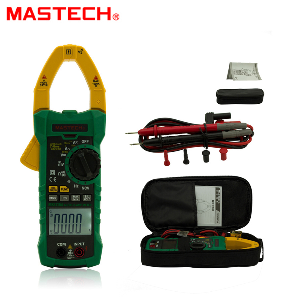 MASTECH MS2115A True RMS 1000A 6000 counts Digital Clamp Meter Multimeter Voltage Current Resistance Capacitance Tester 1 pcs mastech ms8269 digital auto ranging multimeter dmm test capacitance frequency worldwide store