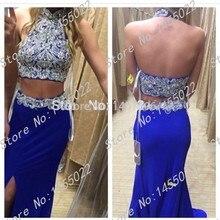 Abendkleider Kristall 2015 Freies Shiping Heißer Verkauf Mantel Zweiteiler Prom Kleider Lange Chiffon Perlen Royal Blue Abendgesellschaft Kleid