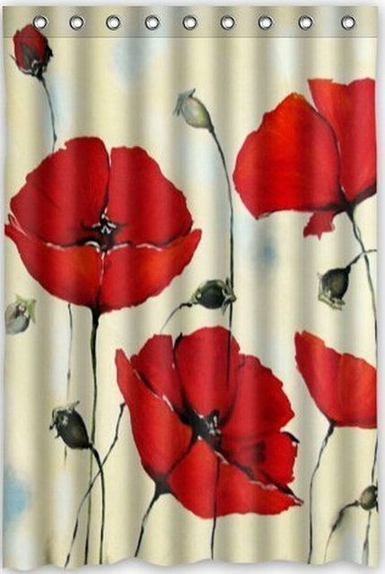 Funny Design Red Poppies Flower Shower Curtain 48w X 72h