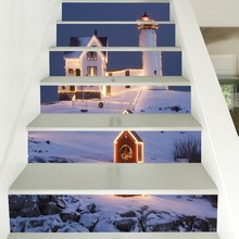 6PCS Stairs Stickers Home Decal Christmas Snow Scene Floor Sticker DIY Wall Floor Decal Stairs Decal Decoration PVC 18CMx100CM