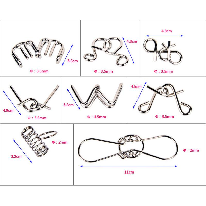 Image 2 - 8PCS/Set Materials Metal Montessori Puzzle Wire IQ Mind Brain Teaser Puzzles for Children Adults Ant-in Puzzles from Toys & Hobbies
