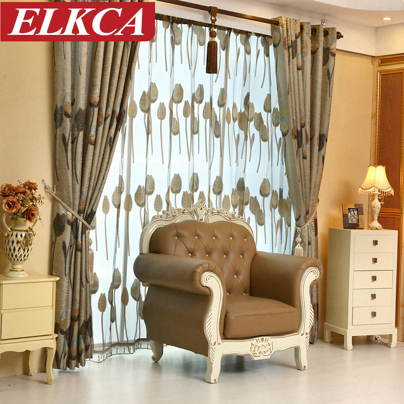 High Quality Grey Tulip European Luxury Curtains For Living Room Bedroom Curtains Window