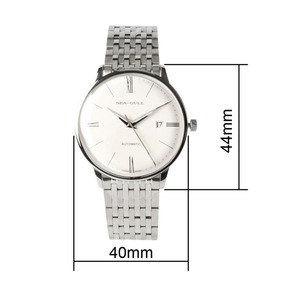 Image 2 - Seagull 10mm Thin Anti Glare Domed Sapphire Crystal Roman Numerals Exhibition Back Automatic Mens Dress Watch 816.519