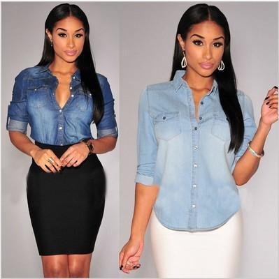 18a72711e1 Women Long Sleeve Lapel Button Down Jean Shirt Pocket Slim Top Blouse Denim  Coat