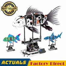 Форма рыбы комплект 20089 20090 20091 20092 LegoINGlys 81000 81001 81002 81003 SEMBO создатель строительные блоки Koi Акула кирпичи игрушек