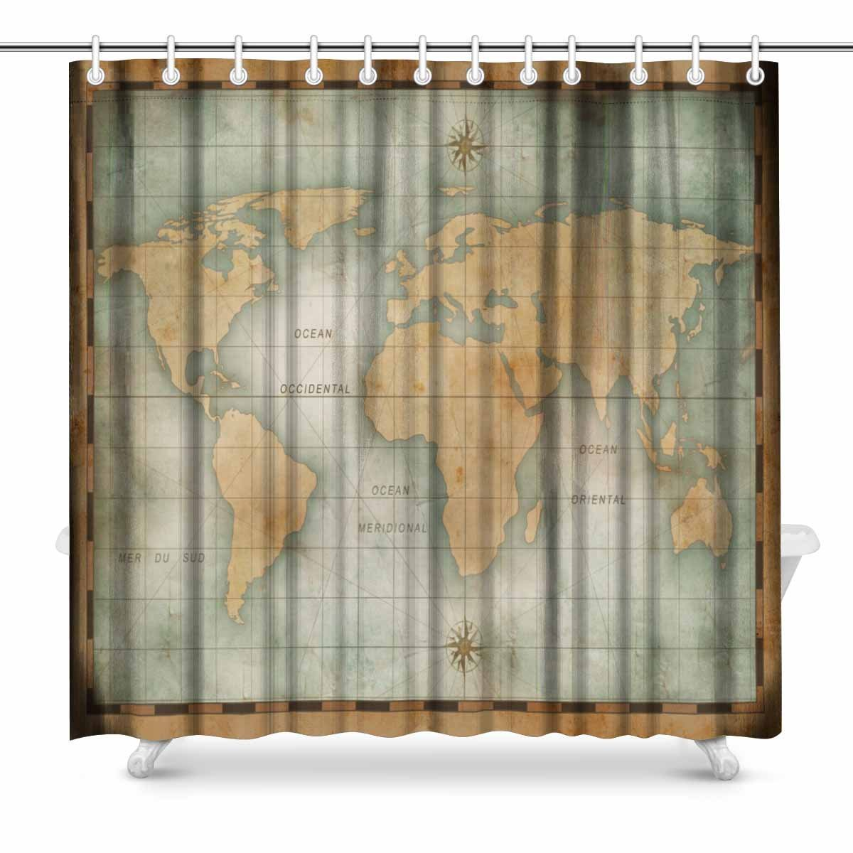 Old World Bathroom Accessories: Aplysia Old Nautical World Map Country House Image