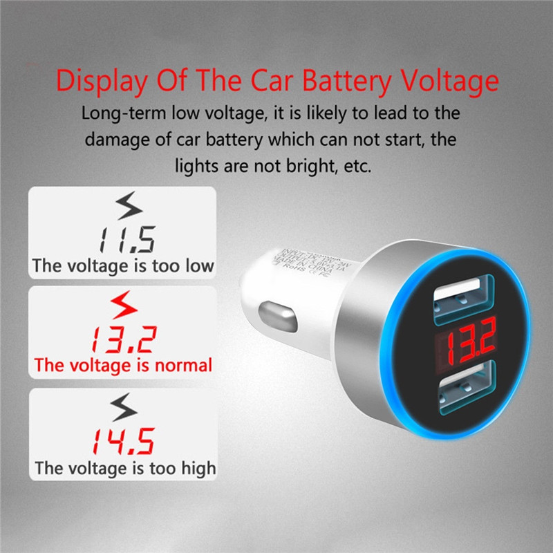 Image 5 - 3.1A Mini USB Car Charger For iPhone XR 8 7 Fast Car Phone Chargers Fast Charging With LED Display Dual USB Phone Charger in car-in Car Chargers from Cellphones & Telecommunications