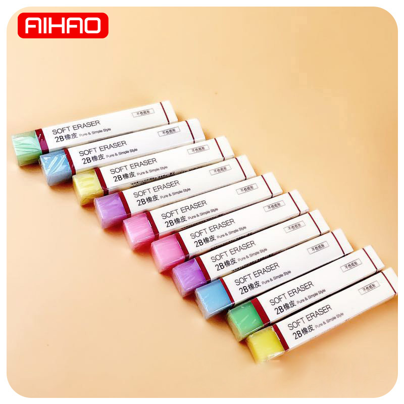 AIHAO Kawaii 2B Soft Pencil Erasers School Supplies Cute Colored Jelly Rubbers For Kids Stationery Novelty Gift Student