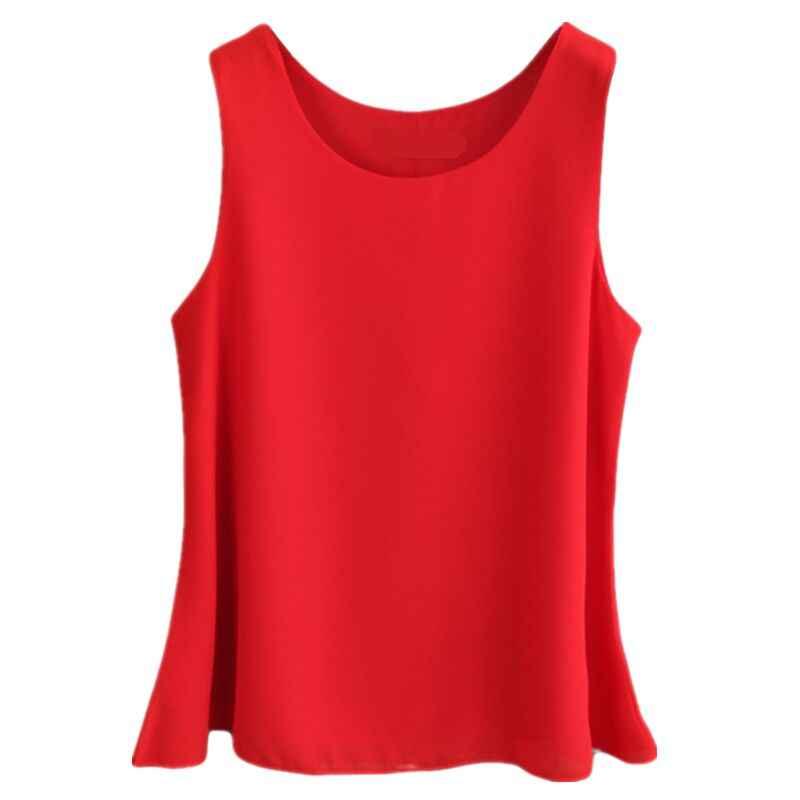 2019 verano nueva mujer Casual Camisa de gasa Blusa de gasa roja Plus tamaño o-Cuello blusas sin mangas sueltas mujer chaleco Tops